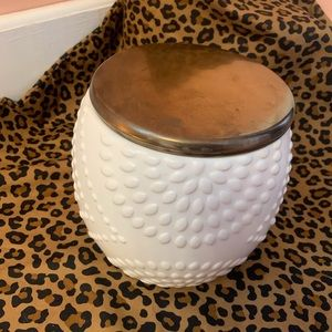 Large White and Copper Stoneware Storage Container